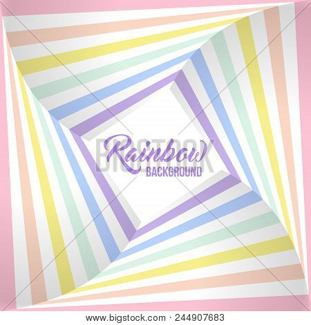 Geometric Striped Background, Pastel Rainbow Spectrum Colors