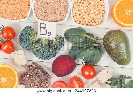 Vintage photo, Nutritious food as source vitamin B9, dietary fiber, folic acid and natural minerals, concept of healthy lifestyles poster