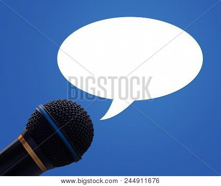Communication And Announcement Concept, Microphone And Bubble On Blue Background
