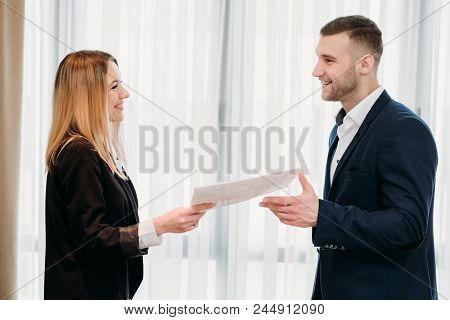 Employment Agreement. Job Hiring. Company Hr Handing Application Form To A New Employee. New Busines