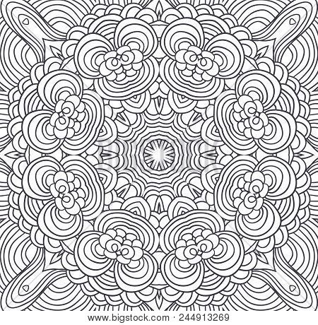 Uncolored Symmetric Tracery For Colouring. Can Be Used As Adult Coloring Book, Coloring Page, Card,