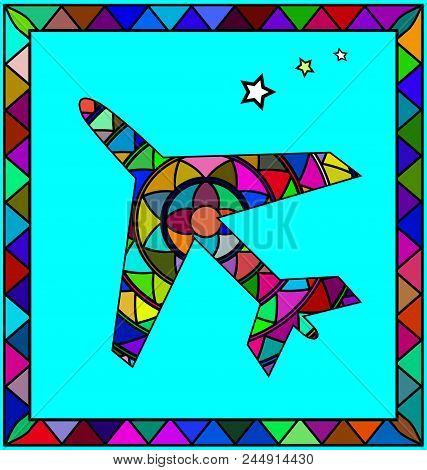 Abstract Colored Background Image Of Airplane Consisting Of Lines And Figures