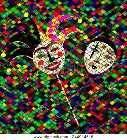 Abstract Colored Background Image Of Two Masks Clowns Consisting Of Lines And Cubes