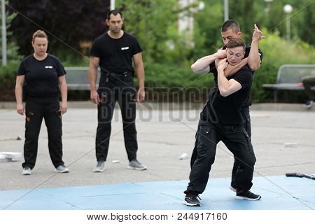 Sofia, Bulgaria - 21 May 2018: Policemen Demonstrate Martial Arts During A Show In National Sports A