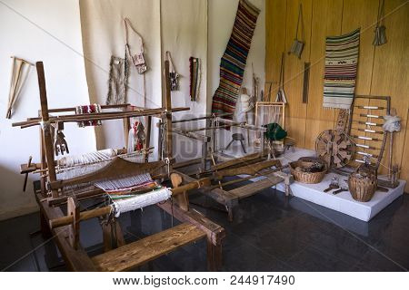 Weaving Equipment For Carpets. Traditional Colorful Carpets From Bulgaria. Hand-woven (hand-made) Ca