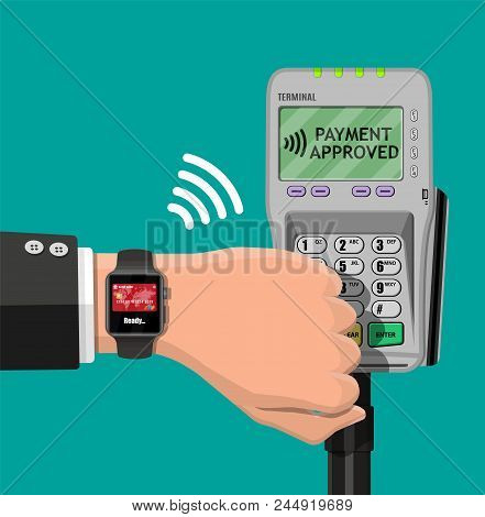 Smart Watch Contactless Payments. Smartwatch On Hand And Pos Terminal. Wireless, Contactless Or Cash