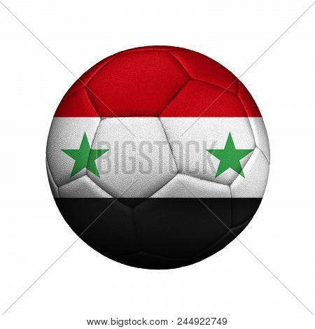 The Flag Of Syria Is Depicted On A Soccer Ball, The Ball Is Close Up Isolated On A White Background.