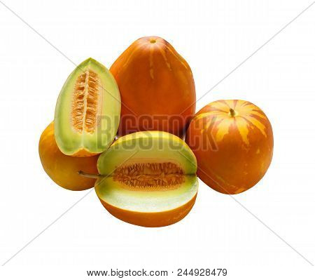 Muskmelons (or Mush Melons)- Same Family With Honeydew & Cantaloupe Isolated On White Background