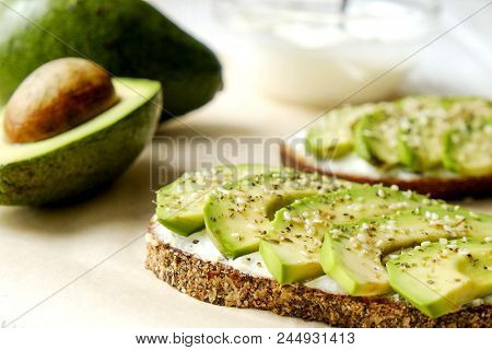 Healthy Nutritious Vegan Snack Full Of Protein & Complex Carbs. Avocado Toast Sandwich With Sesame S