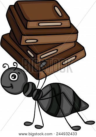 Scalable Vectorial Representing A Ant Carrying A Chocolate Squares, Element For Design, Illustration