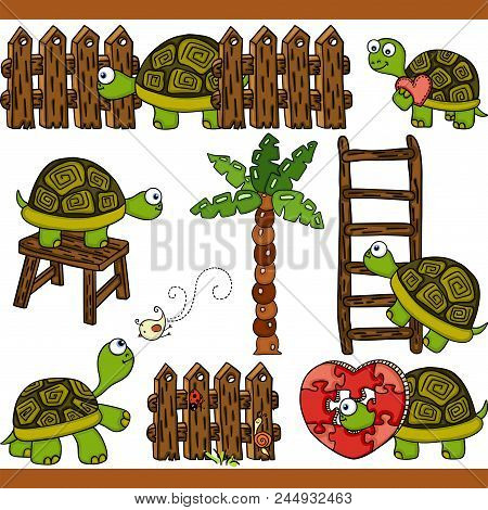 Scalable Vectorial Representing A Turtle Set Digital Elements, Illustration With Elements For Your D