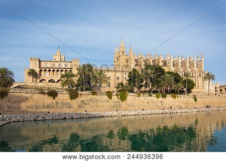 Mallorca, Balearic Islands, Spain - November 24 2017: Landmarks La Seu Cathedral And Almudaina Castl
