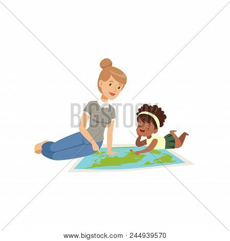 Little Girl Lying On The Floor And Looking At Geography Map, Teacher Him About Continents, Geography