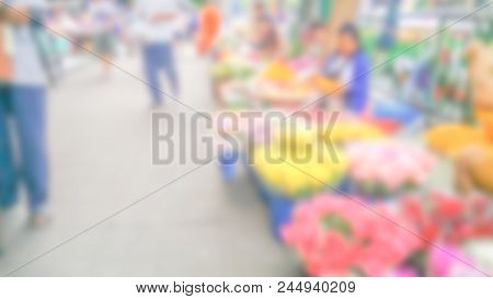 Abstract Blur Market - Abstract Blurred For The People Along Walking On The Narrow Street At The Fru