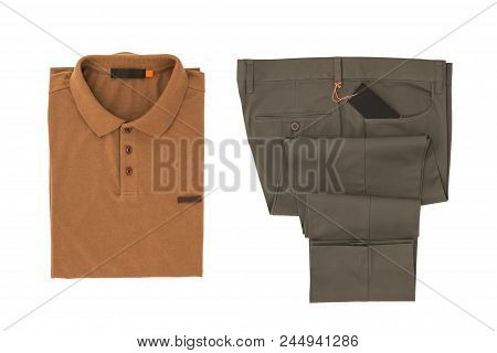 Brown Shirt And Gray Folded Trousers