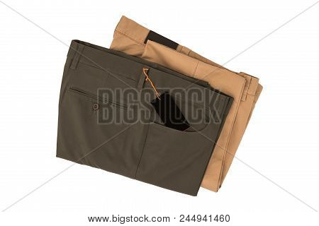 Gray And Brown Folded Trousers