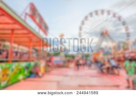 Blurred Amusement Park Background