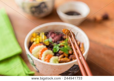 Insects Food With Rice Berry - Cricket Insects, Corn, Red Bean, Carrot, Cucumber With Rice Berry In