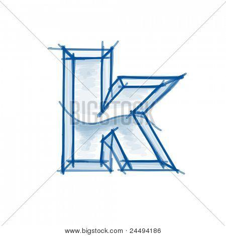 Blueprint písma skica - písmeno k - značka výkresu. Rastrový obrázek zkopírovat moje vektor
