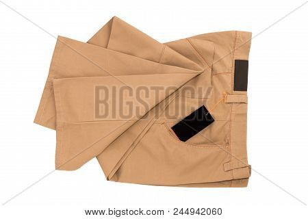 Brown Folded Trousers - New Brown Folded Trousers Fashion With Tag Price Isolated On White Backgroun
