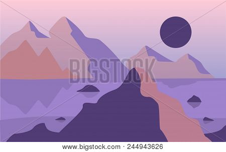 Beautiful Natural Landscape, Scene Of Nature With Mountains In Evening Time Vector Illustration, Des