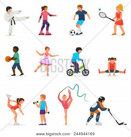 Child In Sport Vector Boy Or Girl Character Playing Hockey Or Soccer And Children Dancing Or Skating