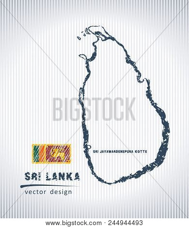 Ceylon National Vector Drawing Map On White Background