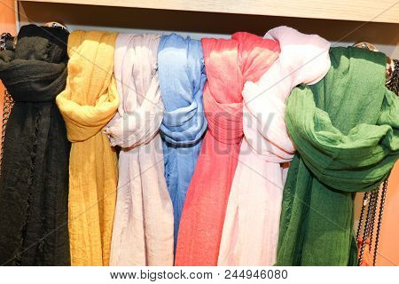 Collection Of Many Colorful Clothes Rack With Selection Of Scarves  Scarfs Shop