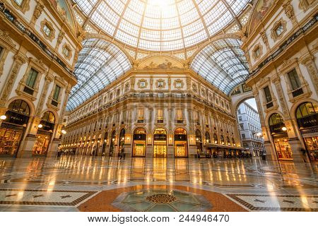 Milan, Italy - Sep 29, 2017: Galleria Vittorio Emanuele Ii In Milan, Italy Is The Oldest Shopping Ma