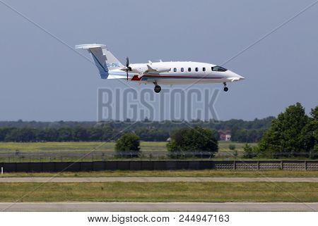 Borispol, Ukraine - May 26, 2018: Es-pal Piaggio P-180 Avanti Evo Business Jet Aircraft Landing On T