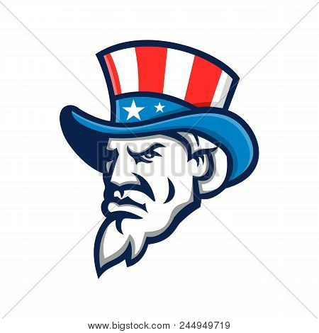 Mascot icon illustration of head of Uncle Sam wearing a top hat with USA  American stars and stripes viewed from side on isolated background in retro style. poster