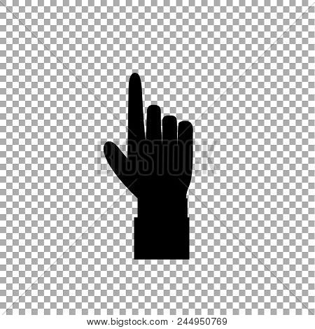 Hand Gesture With A Raised Index Finger. Pointing Finger Icon Illustration Of Businessman Black Hand