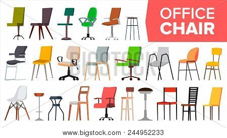 Chair Set Vector. Office Modern Desk Chairs. Different Types. Interior Seat Design Element. Furnitur