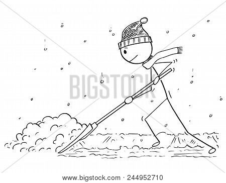 Cartoon Stick Drawing Conceptual Illustration Of Man With Snow Pusher Shoveling The Snow.