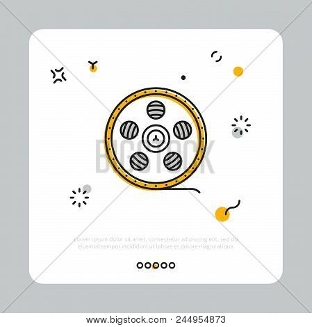 Vector Design Of Reel With Cinema Strip Composed On White Square Against Gray Background