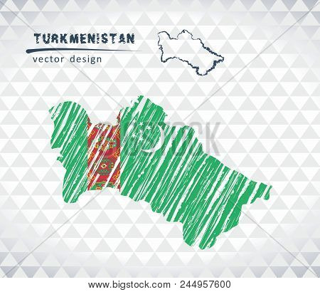 Map Of Turkmenistan With Hand Drawn Sketch Pen Map Inside. Vector Illustration