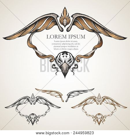ancient wing symmetry, colour,ancient frame,vector, wing frame poster
