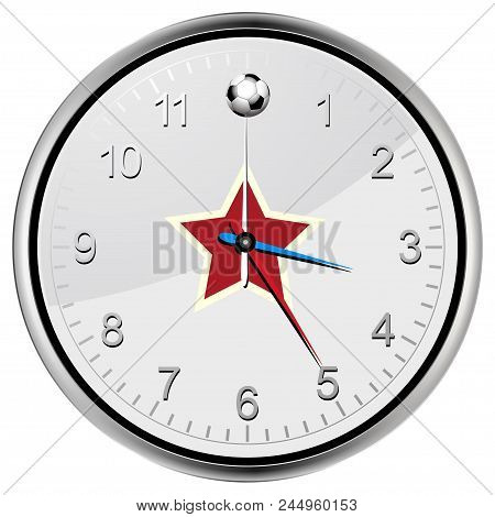 White And Metallic Clock With Football Soccer Ball At Twelve Red Star On The Centre And Red Blue And