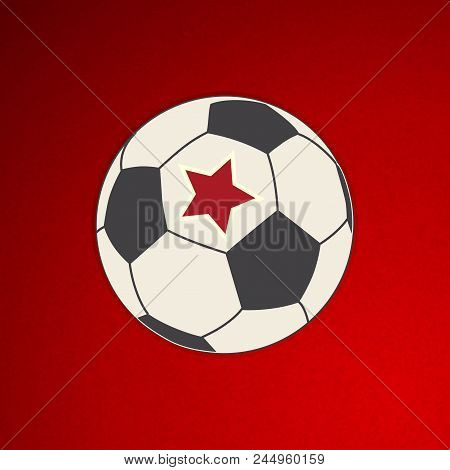 Hand Drawing Style Football Soccer Ball With Red Star Over Textured Red Background