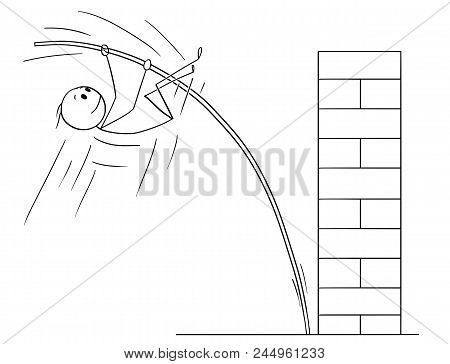 Cartoon Stick Drawing Conceptual Illustration Of Man Or Businessman Doing Pole Vaulting To Overcome