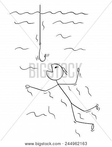 Cartoon Stick Drawing Conceptual Illustration Of Man Or Businessman Swimming To Be Catch On Empty Fi