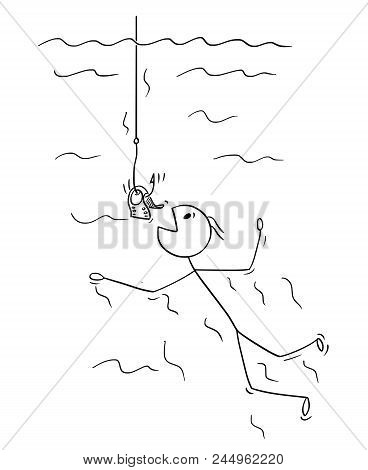 Cartoon Stick Drawing Conceptual Illustration Of Man Or Businessman Swimming To Be Catch On Dollar B