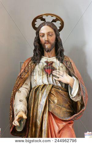 VELA LUKA, CROATIA - MARCH 22: Sacred Heart of Jesus, statue on the altar in the saint Joseph church in Vela Luka, Korcula island, Croatia, on March 22, 2017.