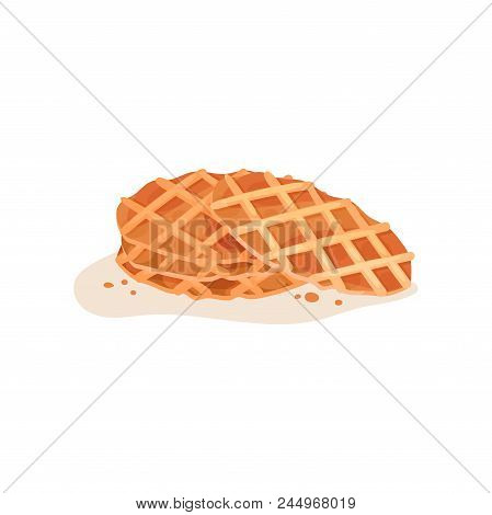 Three Round-shaped Crispy Waffles With Crumbs. Delicious Snack. Culinary Theme. Decorative Element F