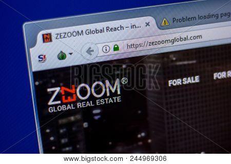 Ryazan, Russia - June 05, 2018: Homepage Of Zezoomglobal Website On The Display Of Pc, Url - Zezoomg