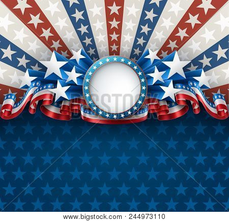 American Patriotic Background With Round Frame, 4th Of July Greeting Card, Eps 10 Contains Transpare