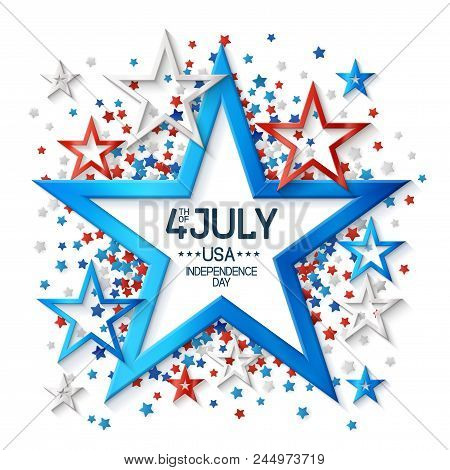 Fourth Of July Background With Star Shape Frame, On White Background And, Stars In American Flag Col