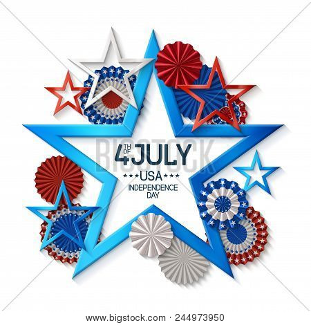 Fourth Of July Background With Star Shape Frame, On White Background, Stars And Rosettes, In America