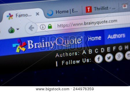 Ryazan, Russia - June 05, 2018: Homepage Of Brainyquote Website On The Display Of Pc, Url - Brainyqu