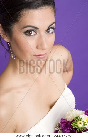 Bridal Portrait Happy Attractive Woman White Wedding Gown